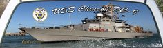 USS Chinook PC-9 Is a US Navy Patrol Boat on a truck rear window graphic.
