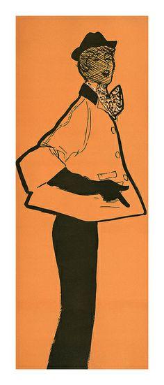 Rene Gruau illustration for Flair magazine,1950.