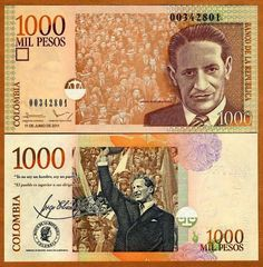 2001 series Colombian 1000-peso banknote, featuring Jorge Eliécer Gaitán, with his signature and quotes.