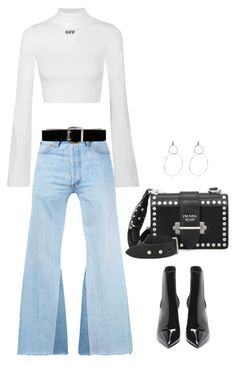 """Untitled #3116"" by hankristina ❤ liked on Polyvore featuring Off-White, RE/DONE, Prada, Express and Yves Saint Laurent"