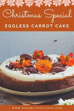 Easy Cake Recipes, Baking Recipes, Dessert Recipes, Baking Breads, Desserts, Eggless Carrot Cake, Hawiian Food, Small Cake, Pastry Cake