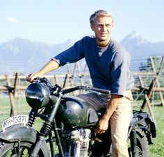 Steve McQueen and a motorcycle