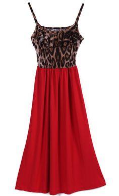 Red Contrast Leopard Spaghetti Strap Silk Dress - Sheinside.com