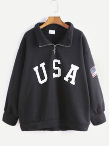 Black USA Print Sleeve Patch Detail Zip Front Sweatshirt