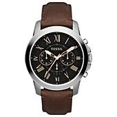 Fossil Watch, Men's Chronograph Grant Brown Leather Strap 44mm FS4813