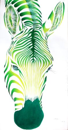 "Saatchi Online Artist: Poggetti Christian; Acrylic, 2010, Painting ""green face"".   Me\DL > think of extraordinary color changes"