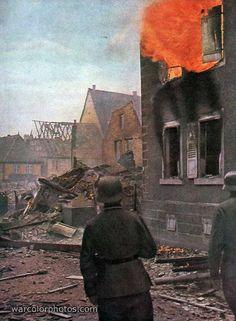 Burning house, France 1940