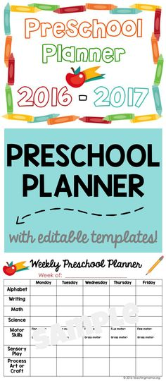 Printable Preschool Planner -- Great for organizing and planning preschool lesson plans. And this planner has editable templates so you can type in the text boxes! Makes life so much easier!