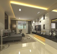 False ceiling with lights for living room with flat TV and gray sofa sets
