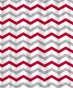 Custom Colors Shower Curtain -Chevron Red Grey and white - ANY color of your choice on Etsy, $68.00