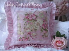 Romantic Pink Roses Teacups China Cottage Pillow Vintage Embroidered Hanky | eBay