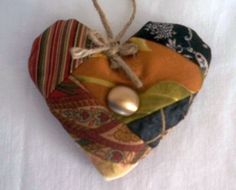 Crazy Quilt Style Organic Lavender Heart Sachet, $10  #Aromatherapy #Gift by DesignsbyChristine