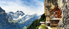 5 Of The Most Interesting Restaurants In The World including Berggasthaus Aescher-Wildkirchli, Switzerland. The Swiss mountainside adventure will bring you to a restaurant and guest house called Berggasthaus Aescher-Wildkirchli, and it looks like this.