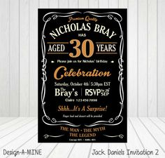 Jack Daniels Invitation. This personalised printable invitation is available for order directly through me as Jack Daniels removed it from Etsy. Cost is $10. I will send you a low quality proof prior to payment and once payment is received (Paypal), I will send high quality file. Please email me (clairemagee1@hotmail.com) all info needed for inviation ie. Full Name & Age of birthday person. Date and Venue of party. RSVP Date and contact info. And lastly any additional info you would like to…