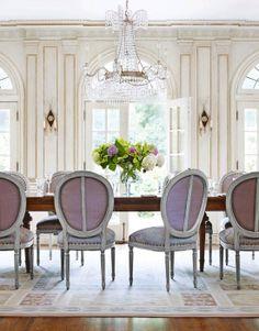 Contemporary Interior Design / Bachelorette feminine decor / dinning room in lavender, lilac