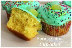 Delicious Spring Citrus Cupcakes. Perfect to make for Easter! #homemade #recipes #food #foodie #cupcakes