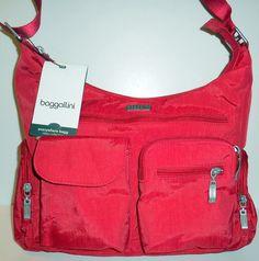 NEW NWT BAGGALLINI Everywhere Bag Red Crossbody Shoulder Travel Handbag Nylon #Baggallini #MessengerCrossBody