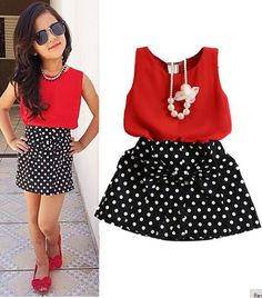 2016 New Summer Fashion Kids Girls Clothes Sleeveless Chiffon Tops Vest Polka Dot Bowknot Skirt Outfits Children Clothing Sets - Kid Shop Global - Kids & Baby Shop Online - baby & kids clothing, toys for baby & kid Kids Outfits Girls, Toddler Girl Outfits, Baby Girl Dresses, Baby Dress, Kids Girls, Mini Dresses, Latest Outfits, Mode Outfits, Outfits 2016