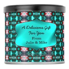 Turquoise Red design Hot Chocolate drink mix Personalized #zazzle #gifts #chocolate