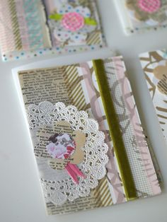 Use vintage wallpaper, doilies, ribbon, or old books to create a shabby chic look.
