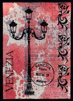 ATC by Godelieve Tijskens using Darkroom Door 'Venetian Vol 1' Rubber Stamps. http://www.darkroomdoor.com/rubber-stamp-sets/rubber-stamp-set-venetian-vol-1