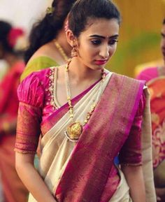 Top Latest and Trendy Blouse Designs For Saree Want to get that stylish look in Saree. Take a look at these stunning and trending blouse designs photos for ultimate style. Wedding Saree Blouse Designs, Pattu Saree Blouse Designs, Fancy Blouse Designs, Blouse For Silk Saree, Latest Saree Blouse Designs, Traditional Blouse Designs, Saree Blouse Patterns, Blouse Designs Embroidery, Blouse Styles