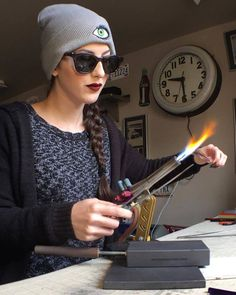 Our apparel is perfect to blow glass in!🔥🔥 Lilly Glass Shop our newest #HighEyeBeanie from MMJCO.COM! Available in 2 eye colors!💙💚 #missmaryjane #missmaryjanegirls #missmaryjaneco #mmjco #girlswhoblowglass #beanies