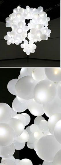 White balloons with Lights for Night Wedding/Reception