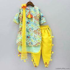 Pre Order: Flowery Top With Dhoti Kids Indian Wear, Kids Ethnic Wear, Baby Summer Dresses, Little Girl Dresses, Summer Baby, Baby Girl Frocks, Kids Frocks, Baby Girl Fashion, Kids Fashion