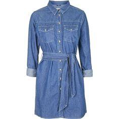 TOPSHOP MOTO Stitch Trim Shirt Dress featuring polyvore, fashion, clothing, dresses, blue, topshop, pocket dress, henley dress, belted dress and long shirt dress