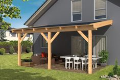 Porch Flat Roof, Patio Roof, Backyard Patio, Building A Carport, Carport Plans, Carport Designs, Pergola Designs, House Awnings, Porch Canopy