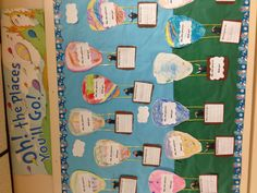 I'm so doing this next year! Dr Seuss oh the places you'll go bulletin board. I took kids pic making gestures and cut out a hot air ballon and basket. They wrote what they will be when they grow up