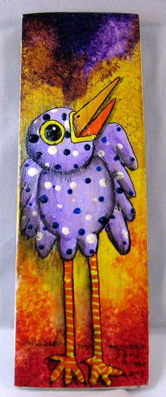 Lavender Whimsical Bird by PhantomWhispers on Etsy, $45.00