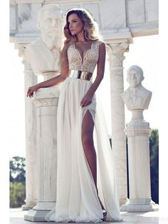Sexy A-line V-Neck beach wedding dresses #weddingdresses #beach #simibridal