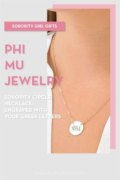 Sorority circle necklaces are the easiest gift for any celebration: Recruitment, Bid Day, Back to School & Big/Little. Spoil your new sorority girl with our simple and dainty Greek letter circle necklace! Phi Mu Gifts   Phi Mu Bid Day   Phi Mu Necklace   Phi Mu Jewelry   Sorority Bid Day   Sorority Recruitment   Sorority Jewelry Gifts   Sorority College Gift   Sorority New Member Gift Ideas   Dainty Jewelry   Simple Gold Necklace #SororityGifts #SororityJewelry Gold Necklace Simple, Circle Necklace, Simple Jewelry, Dainty Jewelry, Jewelry Gifts, Sorority Bid Day, College Sorority, Sorority Gifts, Sorority Recruitment