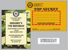 Custom Design Army Military Boy Birthday Party Invitation with Matching Printed Envelopes. $60.00, via Etsy.