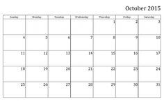 Monthly Calendar Printable 2015 October