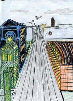 One-Point Linear Perspective Cityscape - I love this lesson, combining Art and Math.
