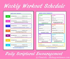 Free Printable Weekly Workout Plan - fill in your workouts for the week to stay focused and on track. Each day includes a Bible passage to encourage you through that day. <3
