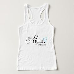 Light Blue Scribbled Heart Future Mrs Tank Top