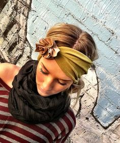 Green Stretch Jersey Flower Headband - Stretch Jersey Knit Lace headband wide hair wrap hair covering head band