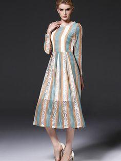 Prett Lace Stripe Long Sleeve Round Neck Maxi Dress