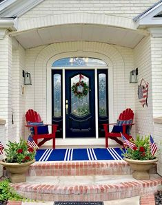 Fourth of July front porch by Design Dazzle | #fourthofjulyfrontporch #fourthofJuly #4thofJulyporch #4thofJulydecor #4thofJulypatio #summerporch #fourthofjulydecor #fourthofjuly #frontporchdecor #frontporchdecorations Summer Front Porches, Summer Porch, Fourth Of July Decor, 4th Of July Decorations, July 4th, Porch Paint, Porch Flooring, Porch Makeover, Porch Furniture