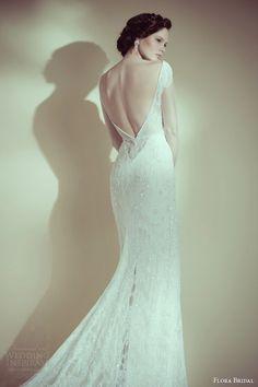flora bridal 2014 grace beaded illusion long sleeve sheath wedding dress back view