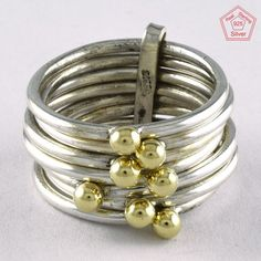 SZ. 8 US UNIQUE DESIGN BRASS BALLS 925 HANDMADE STERLING SILVER STACKABLE RING #SilvexImagesIndiaPvtLtd #Stackable #AllOcassions