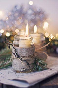 birch bark, pine needles & wintery candlelight