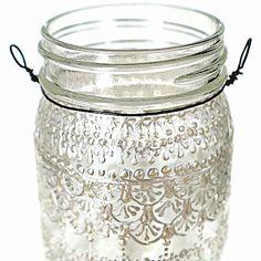 Hand Painted Snowflake Mason Jar Moroccan Lantern Lace by LITdecor