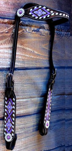 Horse Show Tack Bridle Western Leather Headstall Rodeo Tan Purple 90S29H #ProRider