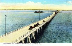 Florida Memory - West end of Gandy Bridge crossing Tampa Bay Clearwater Florida, Sarasota Florida, Old Florida, Florida Travel, Florida Beaches, City Magazine, Ybor City, Kissimmee Florida, Beach Trip