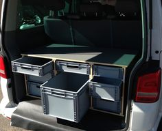 Cheap, easy, modular AND removable from the van to keep the van useable for other things.